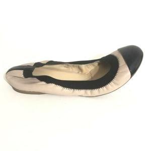 J Crew Ballet Flats tan leather & black patent